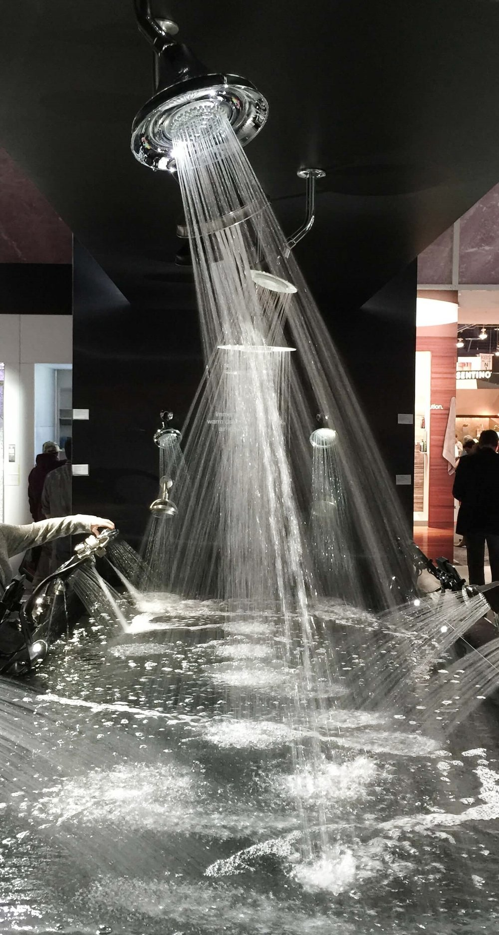 Showerhead display at Kohler booth - KBIS, Kitchen and Bath Industry Show