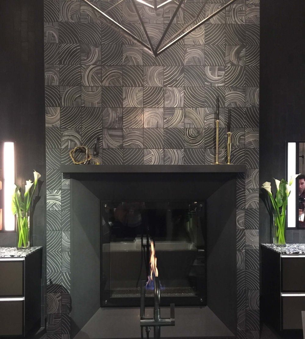 Ann Sacks tile fireplace - KBIS, Kitchen and Bath Industry Show