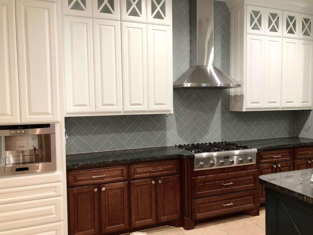 IN PROGRESS - Kitchen remodel with herringbone backsplash, 4 x 16 tile
