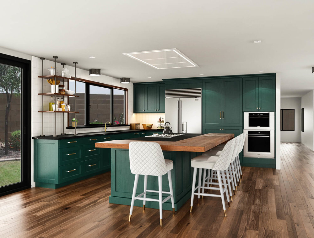 Emerald green kitchen rendering | Paint color: Pittsburgh Paints Nightwatch | Carla Aston, Designer
