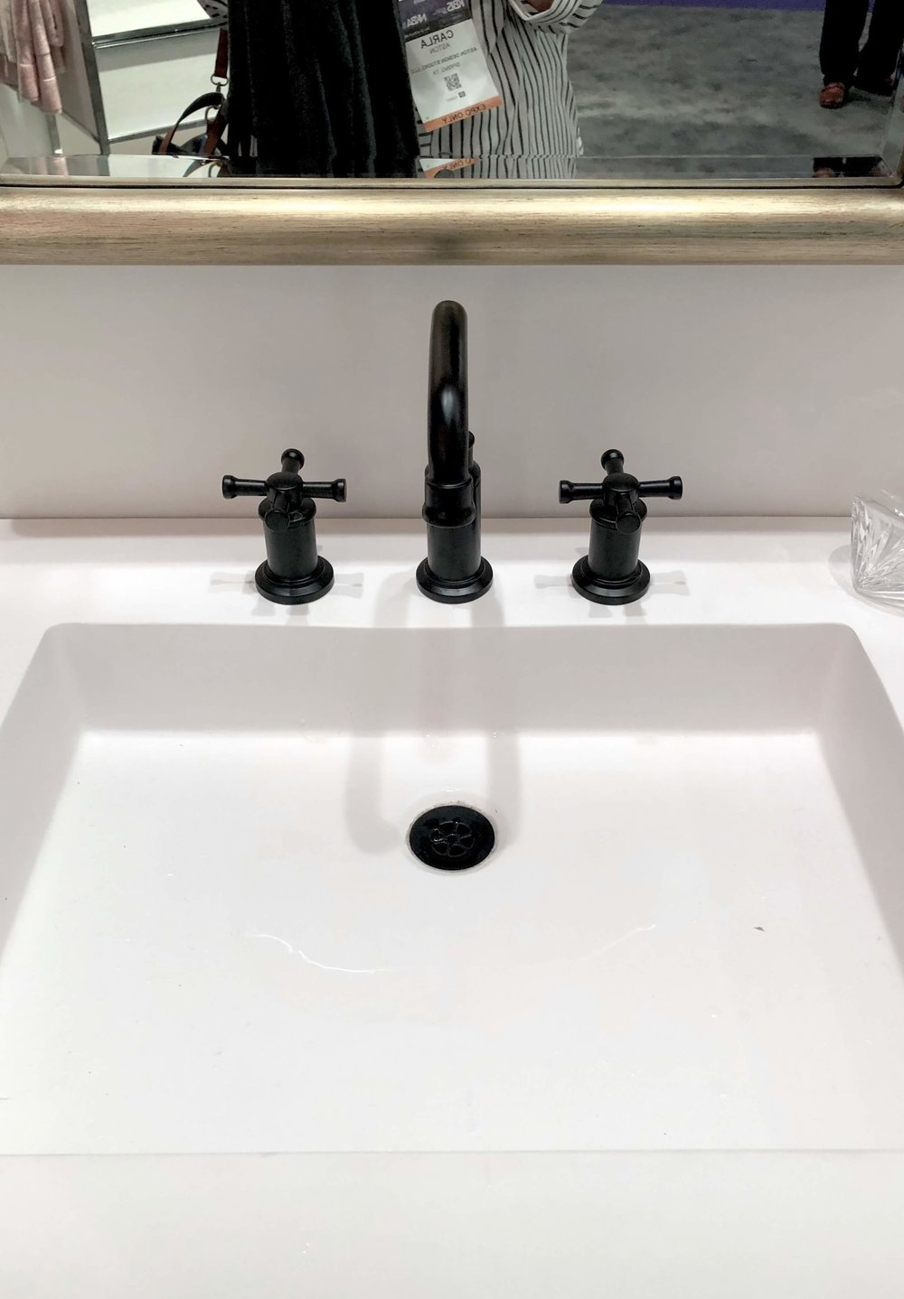 Black bathroom faucet seen at Brizo booth, KBIS 2019 | Black Faucets