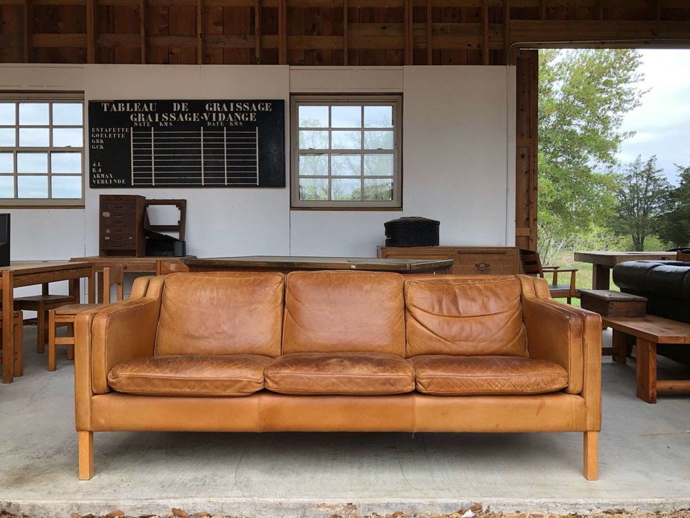 Vintage leather sofa, Eneby Home, Round Top, TX