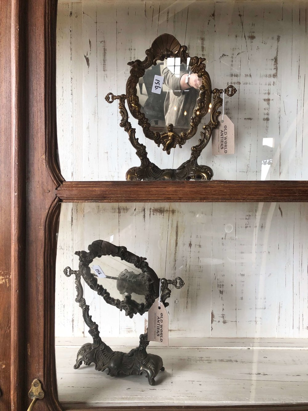 Imagine these mirrors in a contemporary, all white marble bathroom. It would be such a beautiful layering of design elements in the space. Antique brass mirrors seen at The Compound, Round Top Antiques Fair