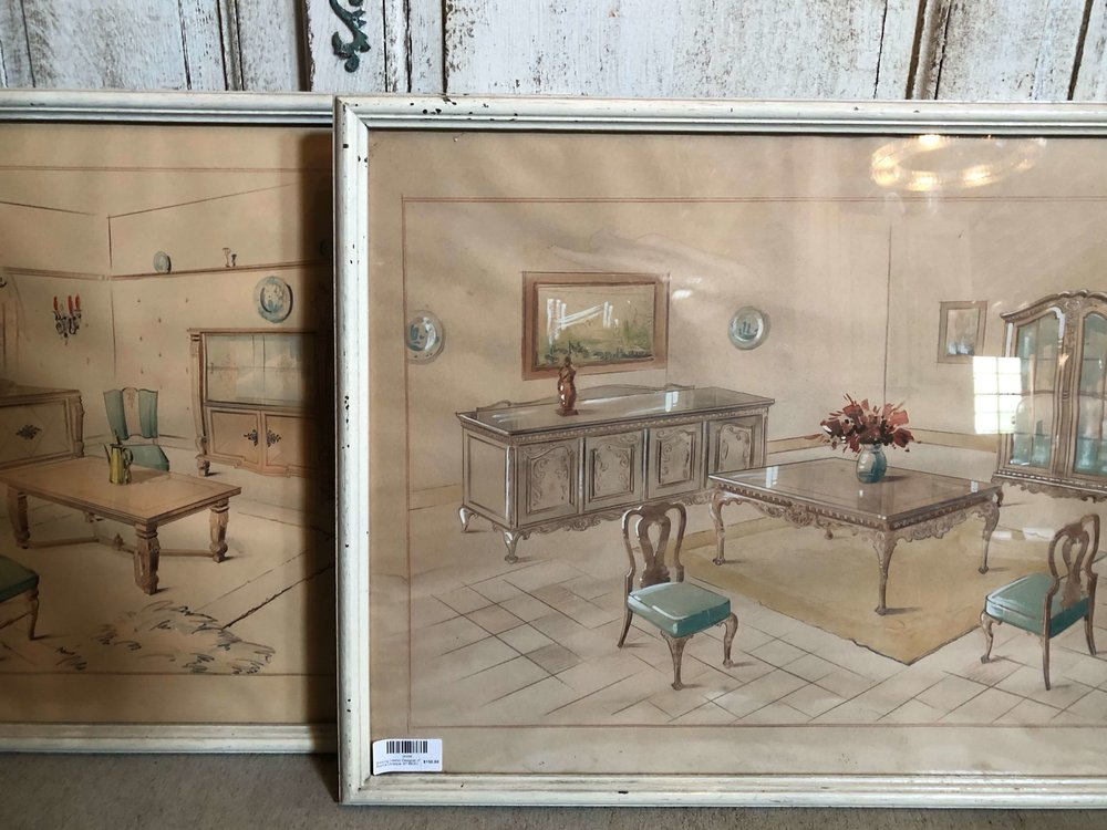 These were fun to see! Vintage interior designer renderings seen at Old World Anteks, The Compound, Round Top Antiques Fair