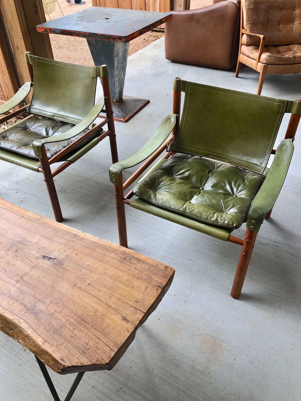 Vintage avocado green leather chairs | Eneby Home, The Compound, Round Top Antiques Fair