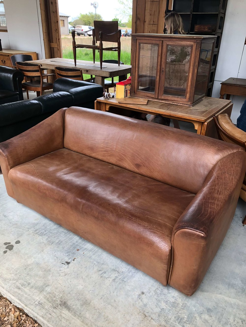 Vintage leather sofa | Eneby Home, The Compound, Round Top Antiques Fair