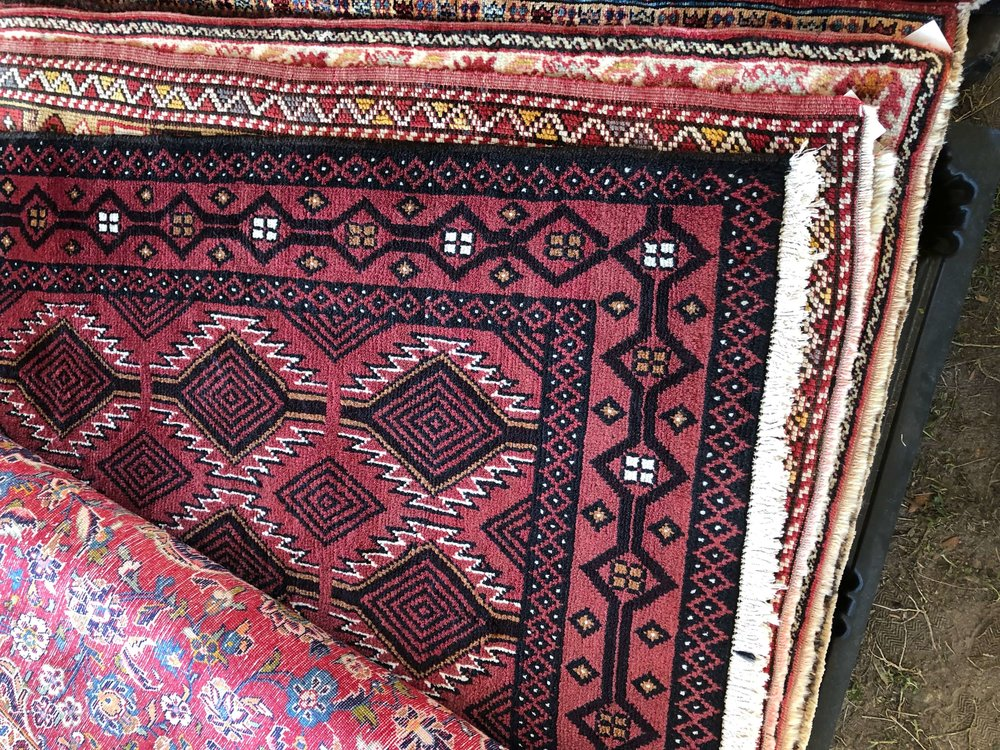 Colorful vintage rugs | Round Top Antiques Fair