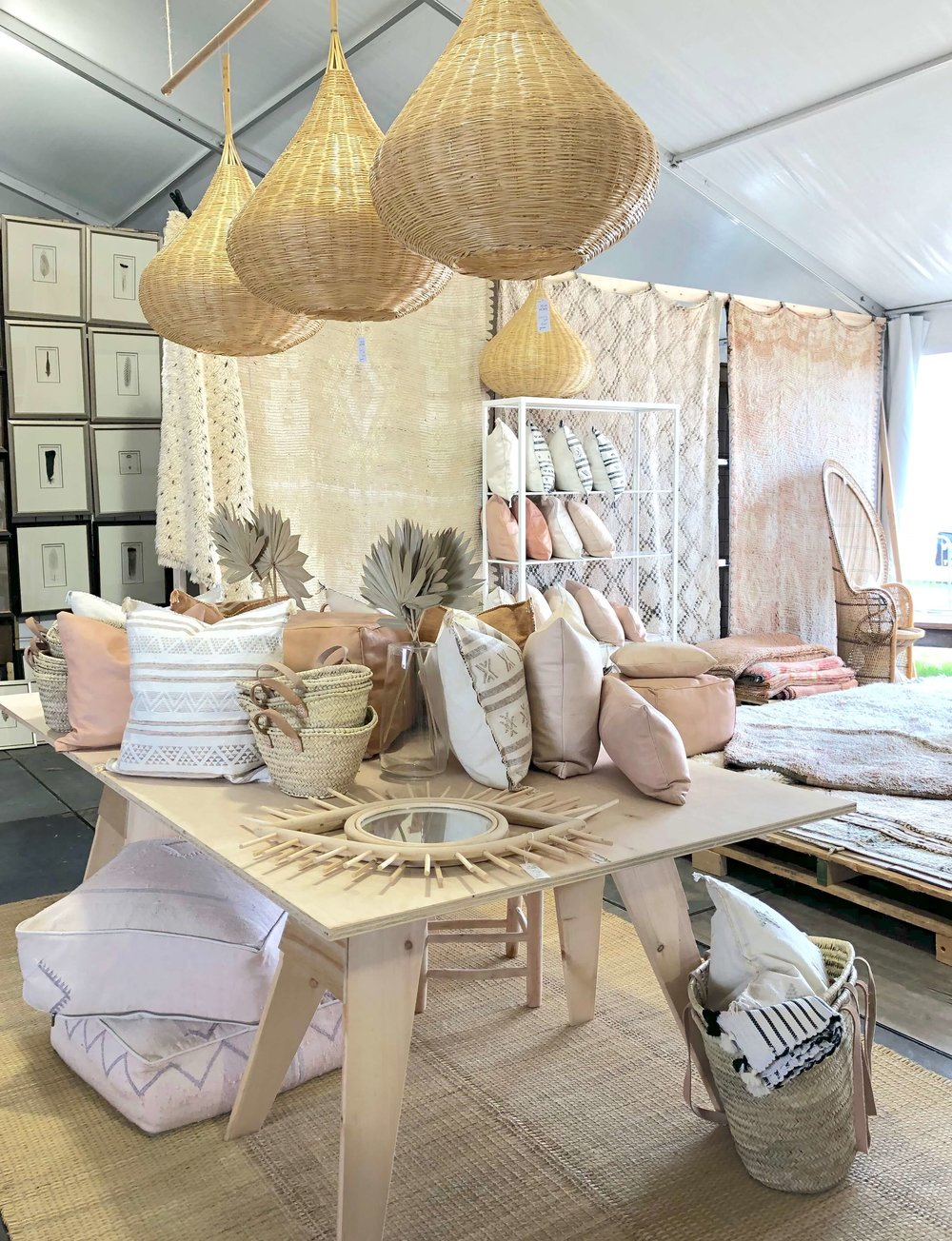 Moroccan rugs, textiles, pillows and poufs, Heja Home| The Arbors, Round Top Antique Fair