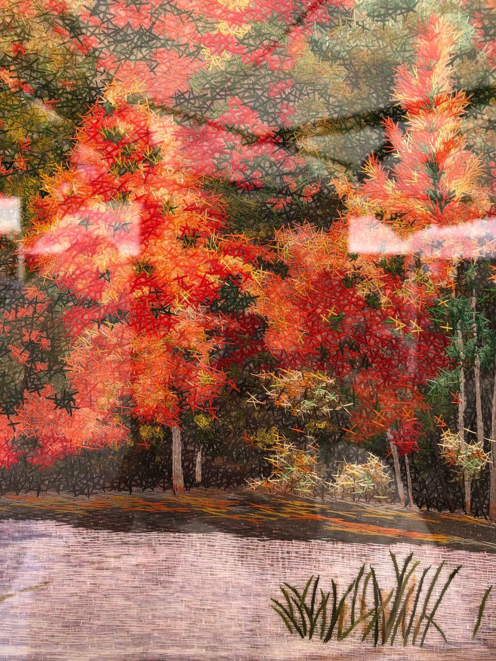 Embroidery artwork of artist, Yan Inlow, seen at The Woodlands Waterway Art Festival