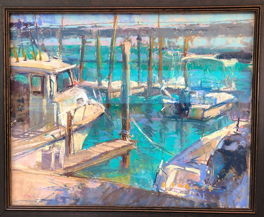 Pastel and oil artwork of artist,  Greg Barnes,  seen at The Woodlands Waterway Art Festival