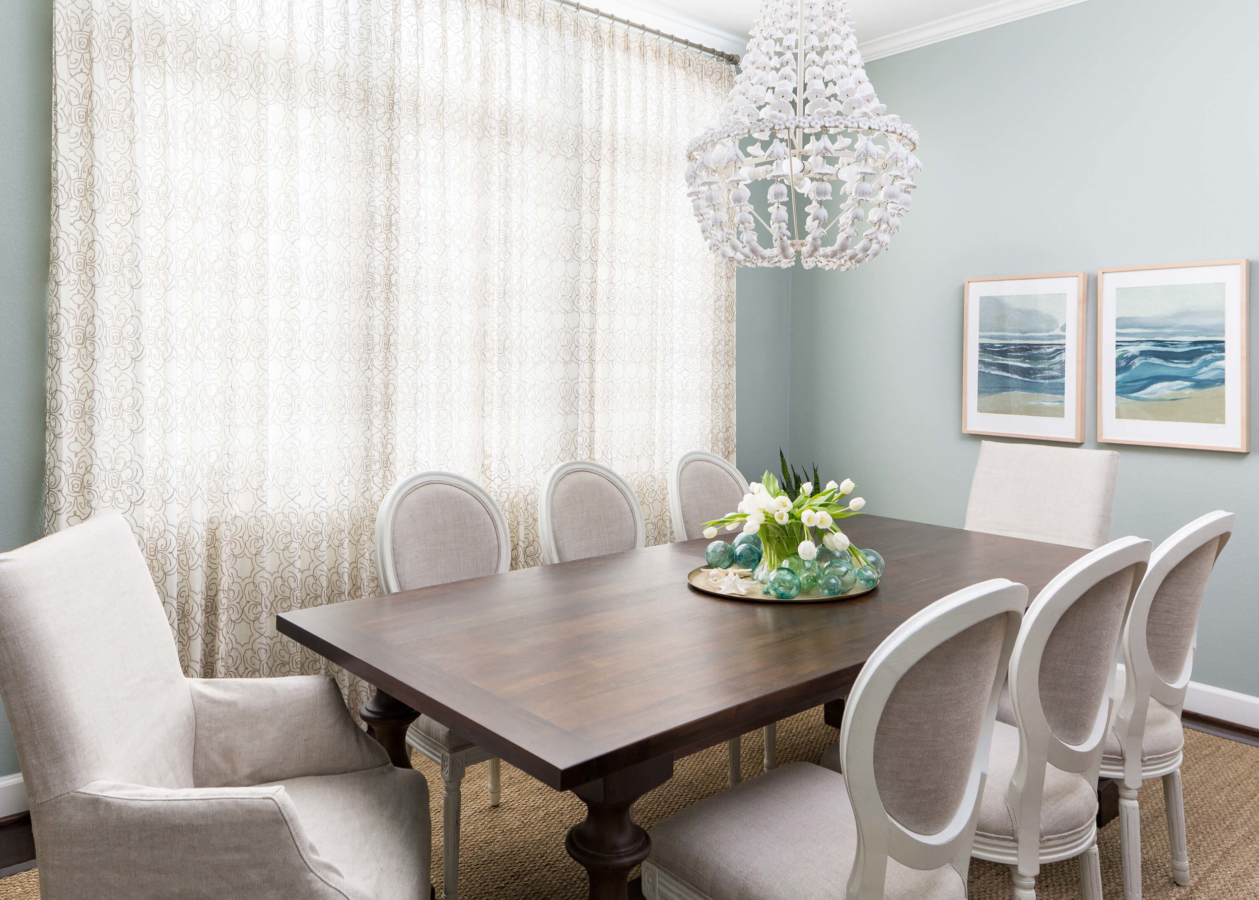 Before And After A Coastal Style Dining Room And Foyer Makeover Designed