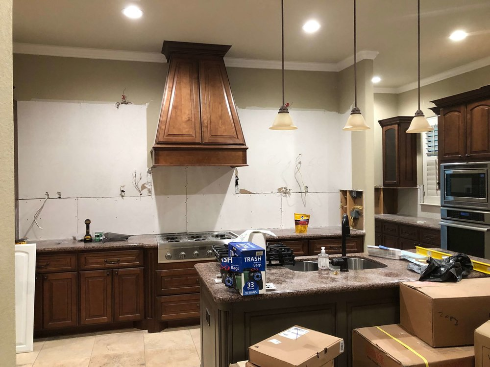 IN PROGRESS - Here was the first demo. the kitchen already felt more open!