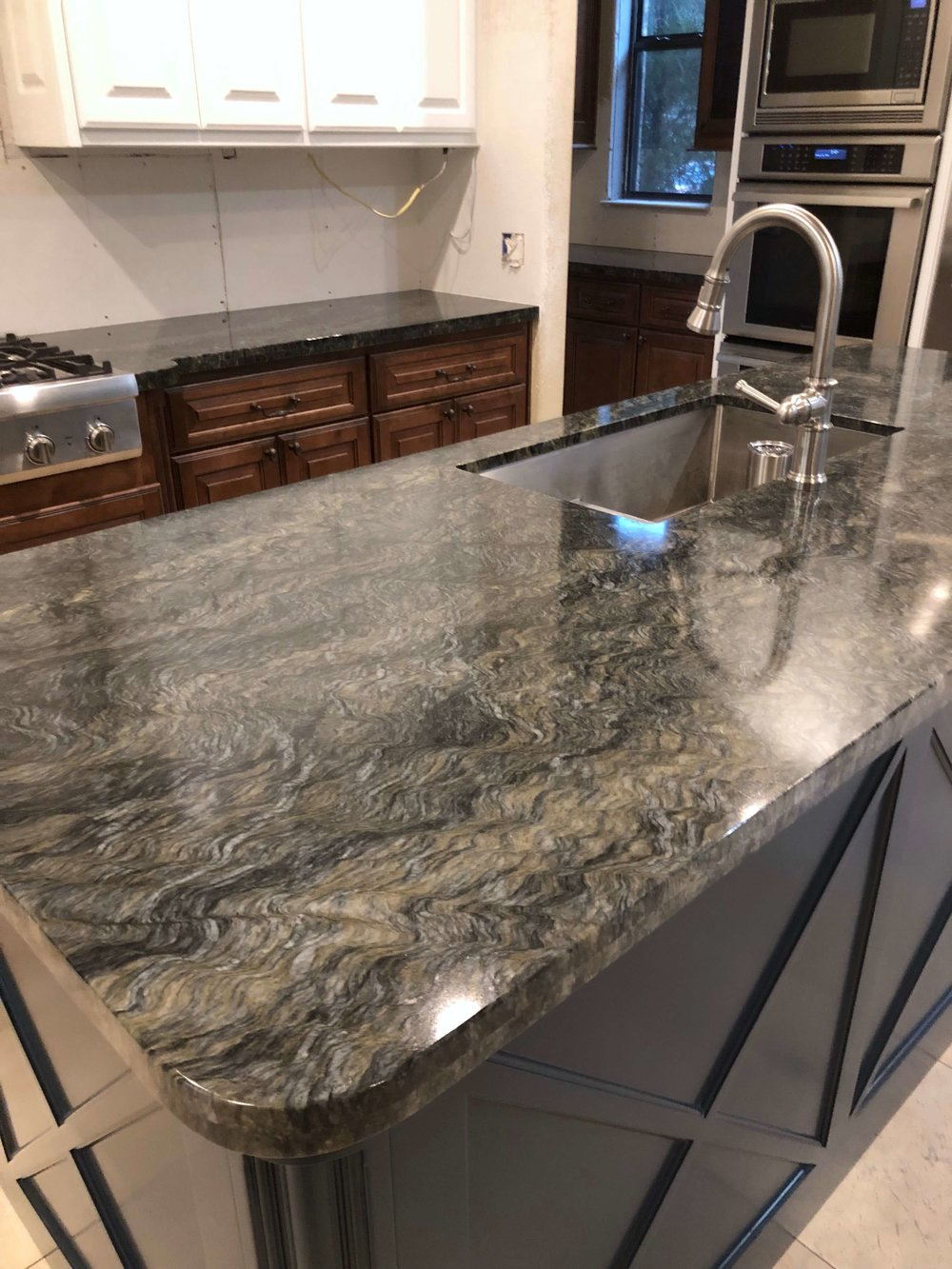 IN PROGRESS - Kitchen remodel with quartzite countertops on new painted kitchen island with X design panels | Carla Aston, Designer