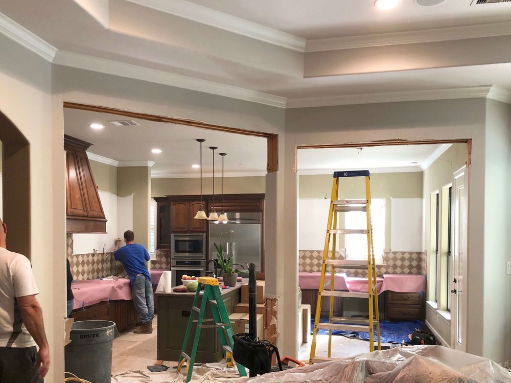 IN PROGRESS - Here you can see, we removed the partial height bar wall and the arches to open up this kitchen more to the adjacent family room and create a better flow. Don't worry, those opening are the same height now. :-) Carla Aston, Designer | Shaun Bain, Contractor