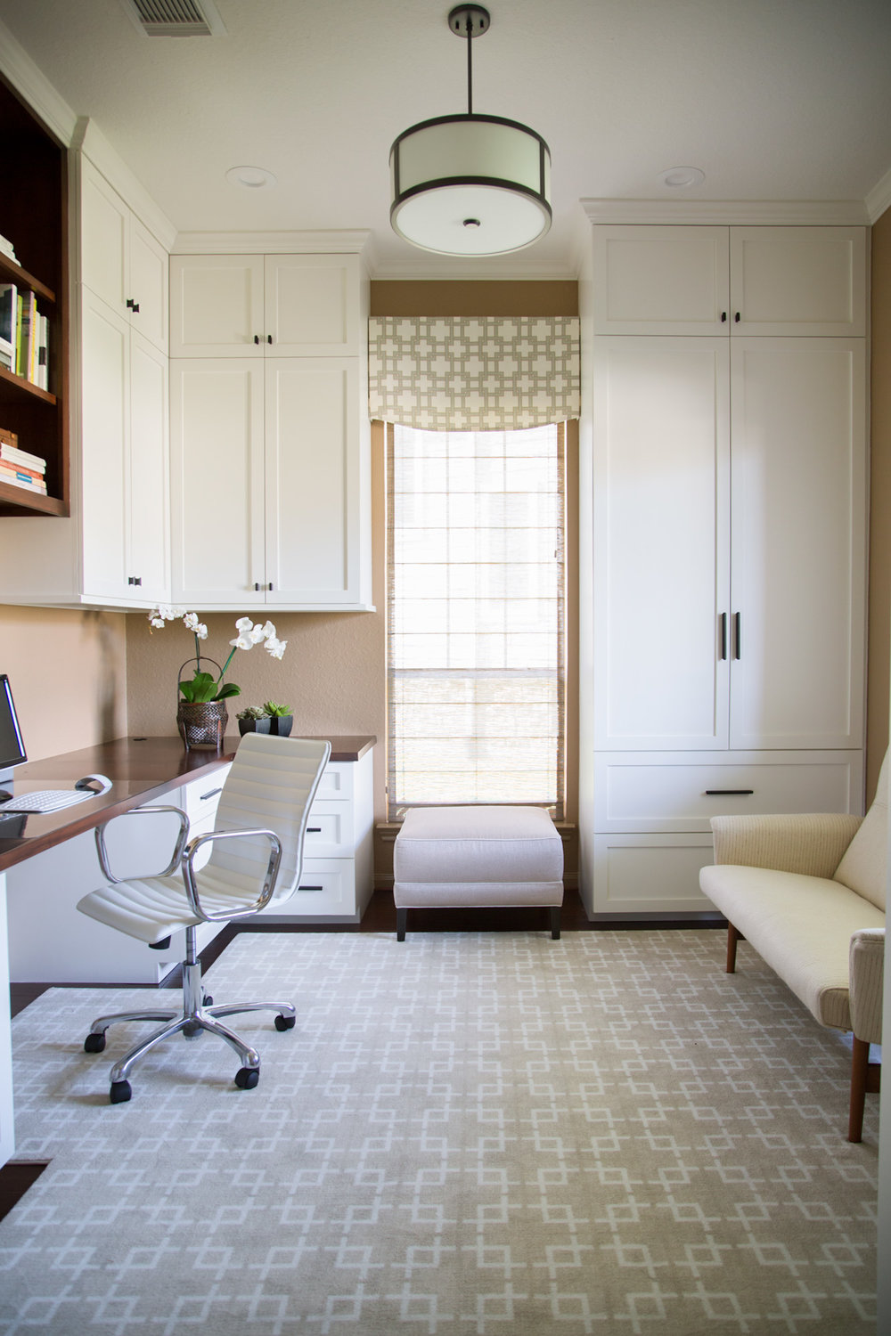AFTER - Window valance hung above window, covering painted wall and only very top of window, making it seem taller. Carla Aston, Designer | Tori Aston, Photographer