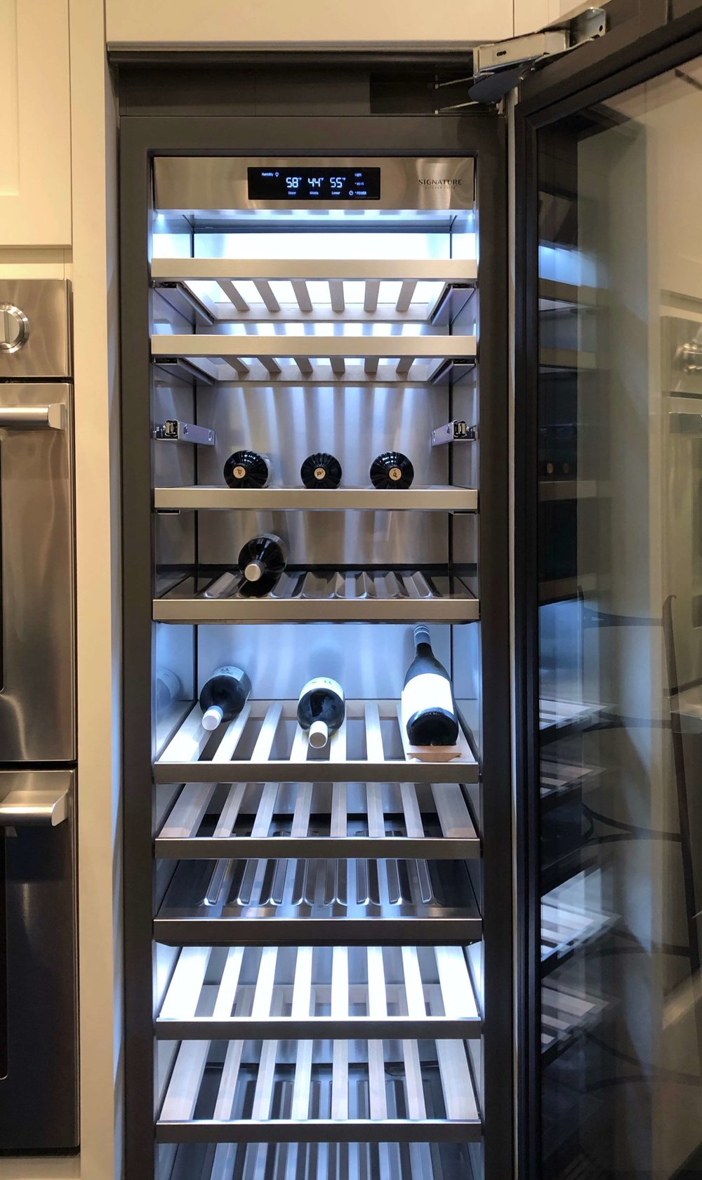 Interior of wine refrigeration unit | SKS Appliances Experience and Design Center, Napa