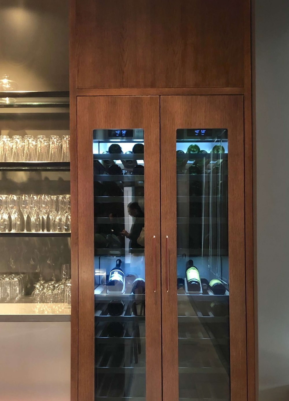 Wine refrigeration in the lounge at the SKS Appliances Experience and Design Center, Napa