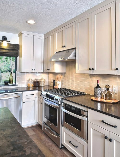 Kitchen with satin trim design -ed by interior designer Carla Aston