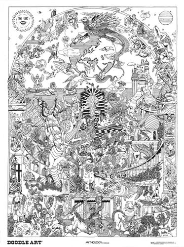 Doodle Art Poster - Mythology