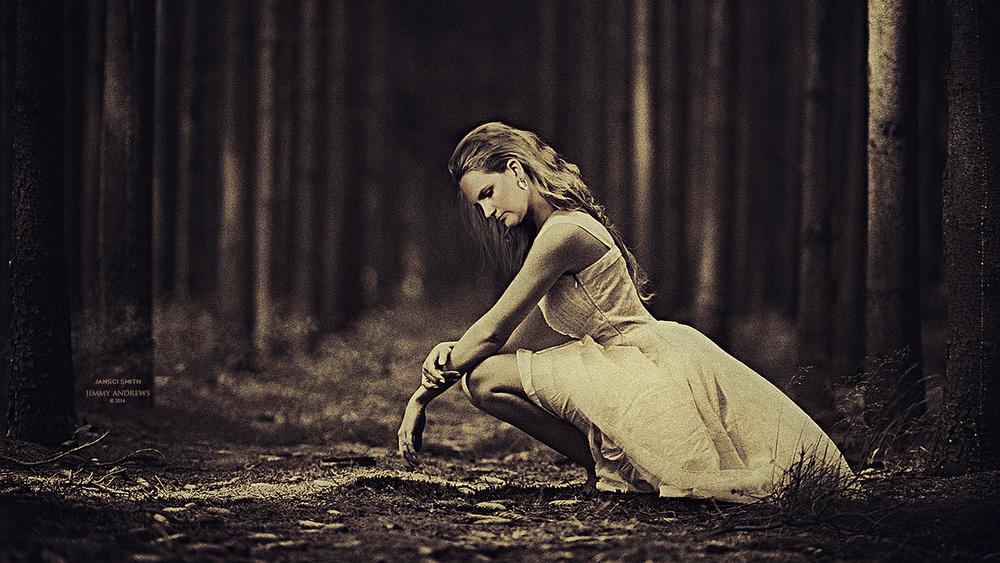 Jansci Squatting In Woods In Dress.jpg