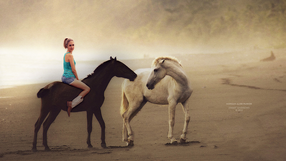 Morgan Alise Parker Riding Horse On Early Morning Beach
