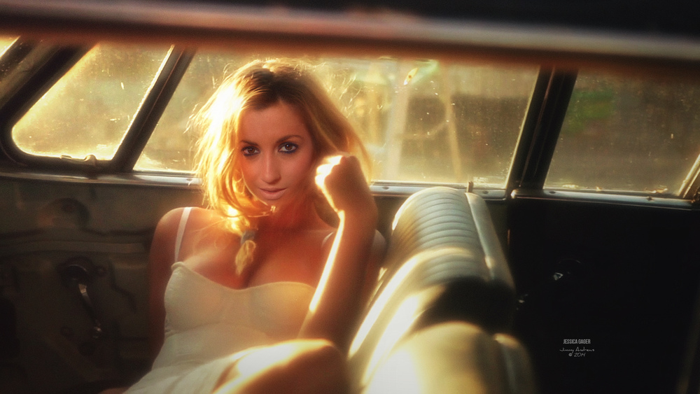 Jessica In Old Car With Blonde Hair