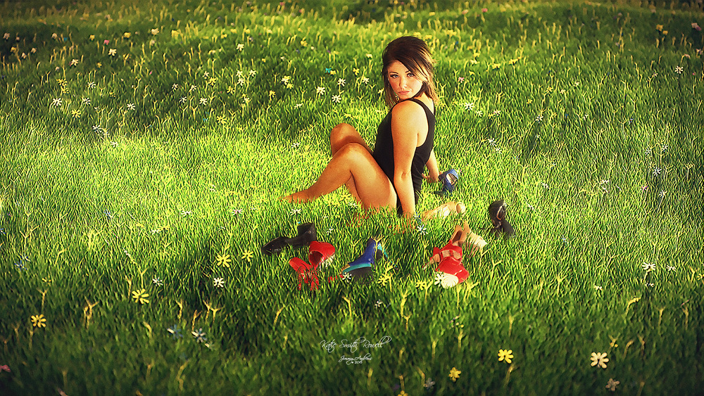 Katie Smith Rowell Sitting In Field Of Shoes... And Flowers!