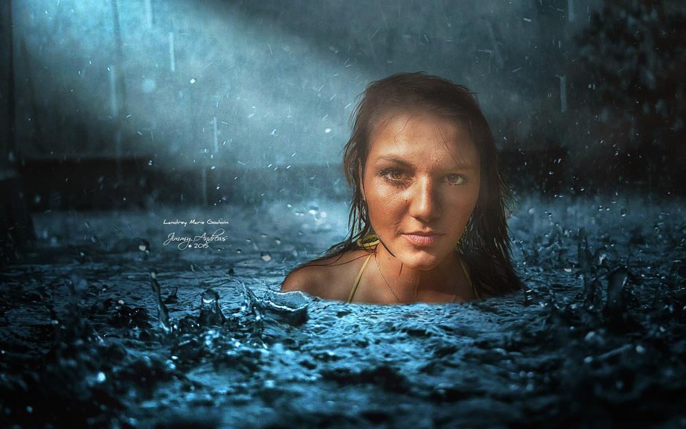 Landrey In Water While Raining