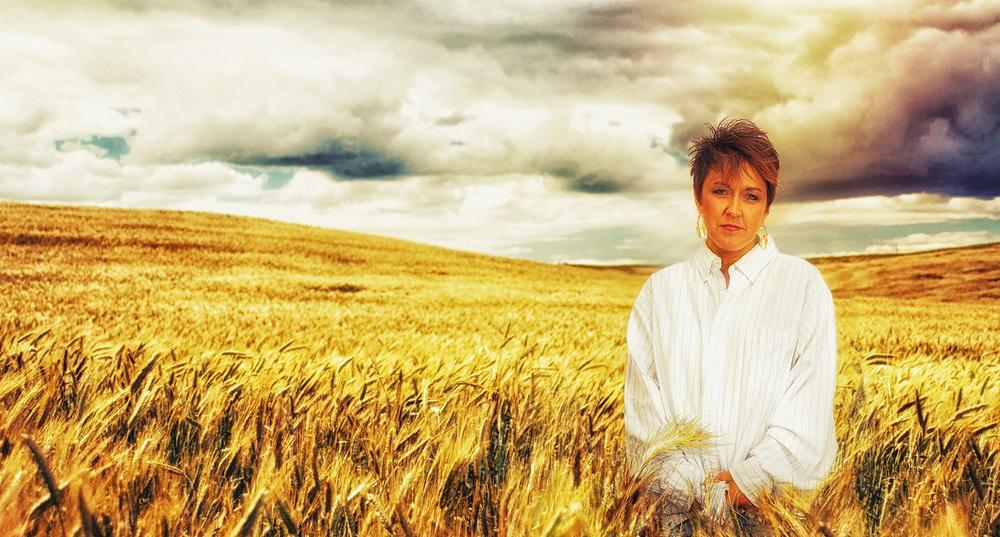 Wearing His Shirt In Wheat Field