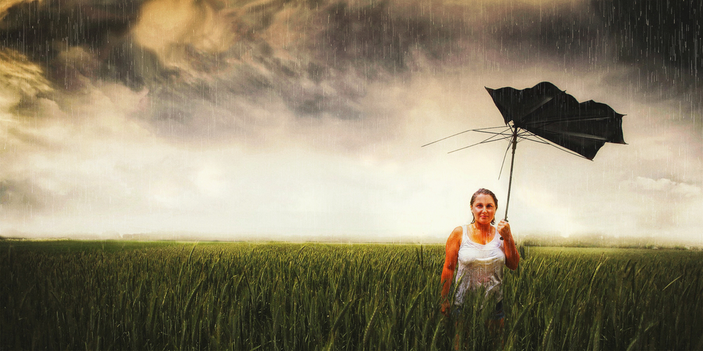 Lacey In Thunderstorm With Broken Umbrella