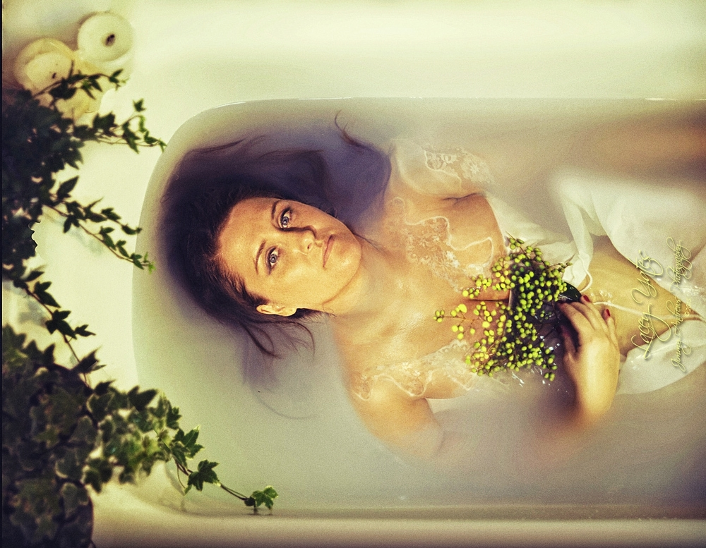 Lacey In Milk Bath With Flowers