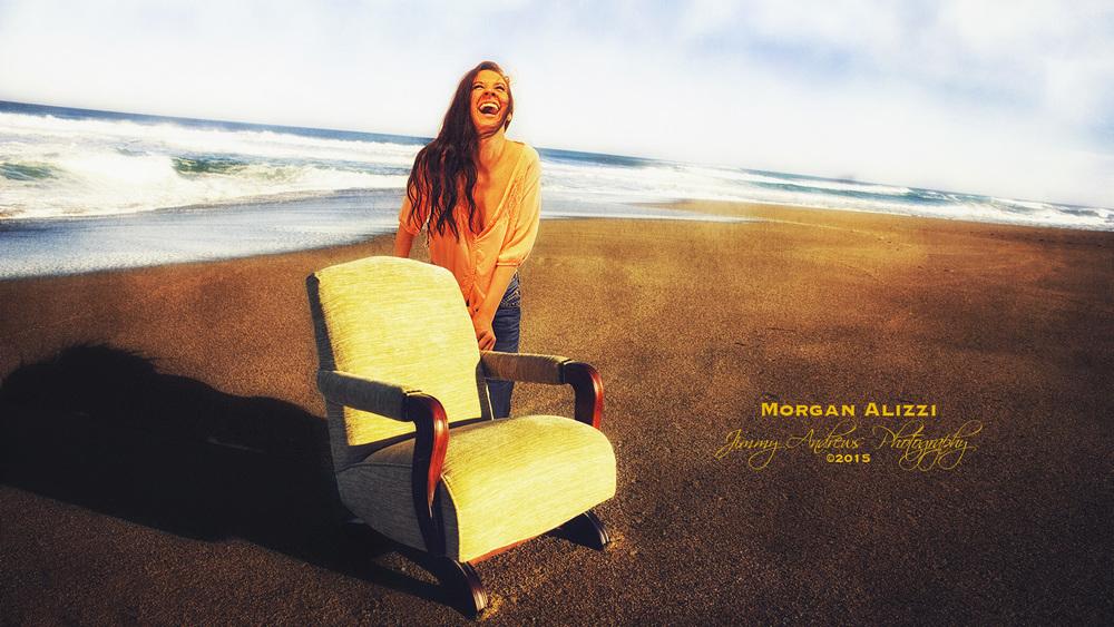 Morgan Alizzi Laughing At Beach Chair