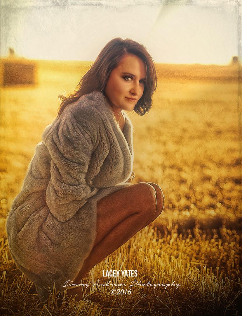 Lacey Yates In Plowed Wheat Field
