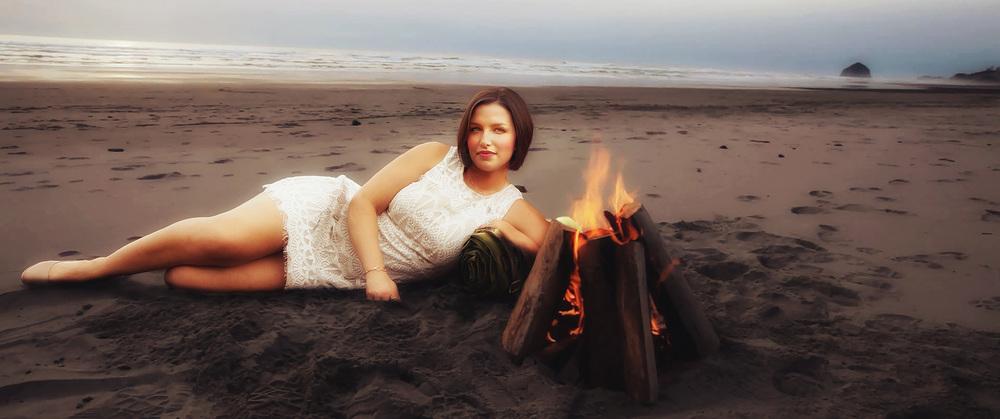 Amanda Beside Beach Camp Fire