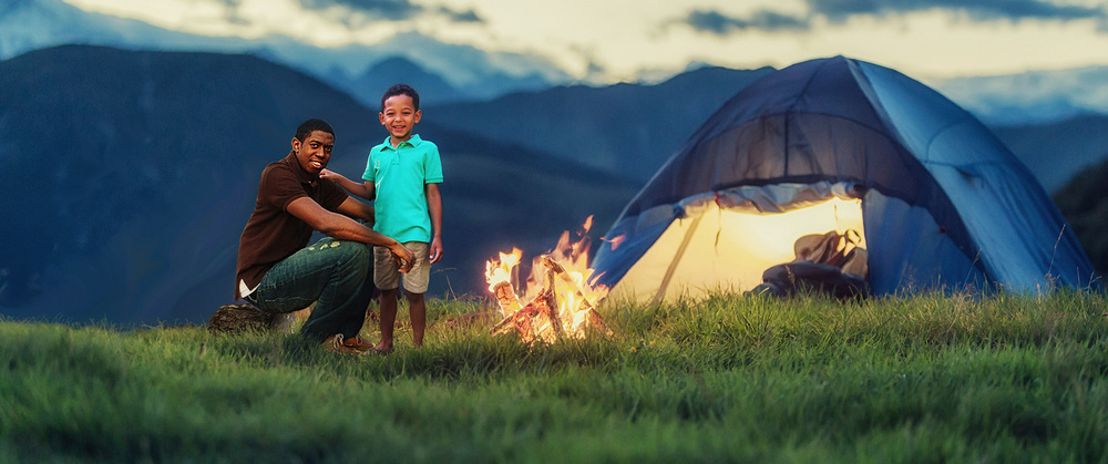 Dad and Son Camping