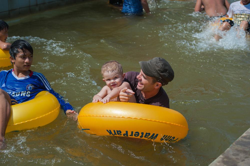 Caleb and I at the Phnom Penh Water Park. ( Photo courtesy: Eric Hanson )