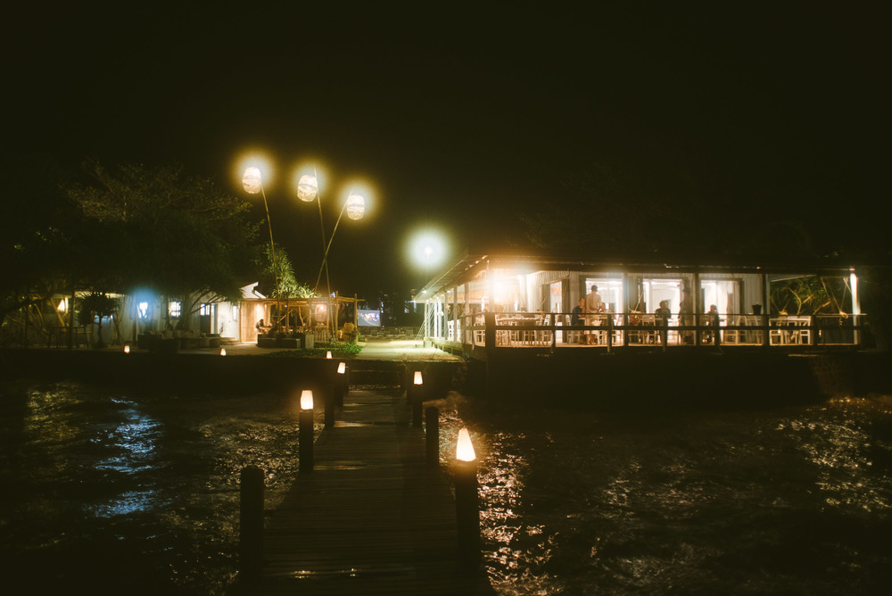 The restaurant from the end of the pier.