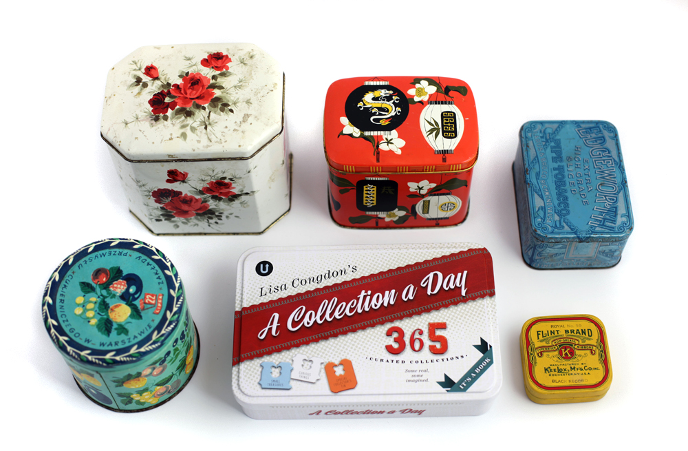Some of the vintage tins that inspired the design of A Collection a Day's collector's tin.