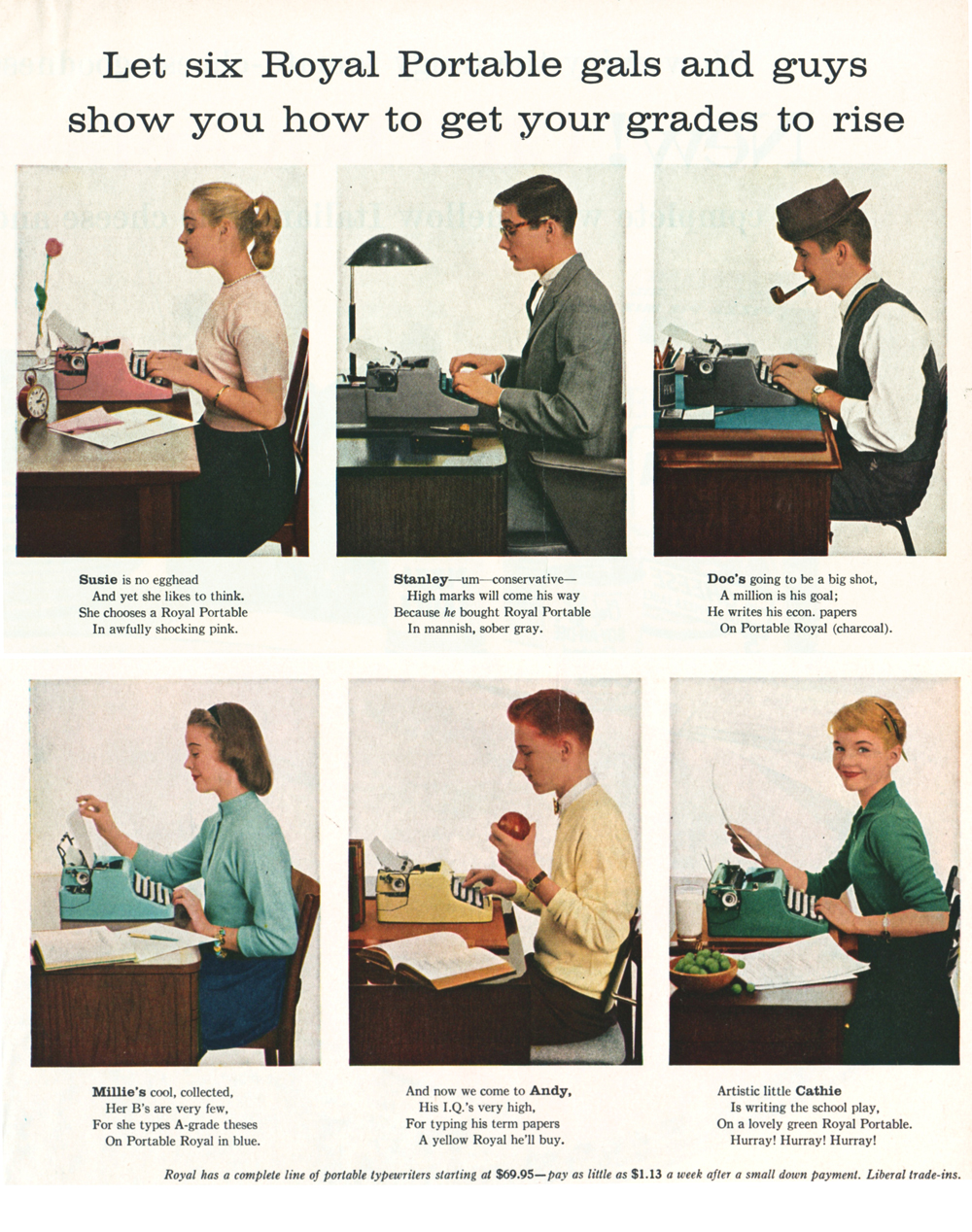 "An advertisement for Royal typewriters, one of the perks at ""The Premier"" level."