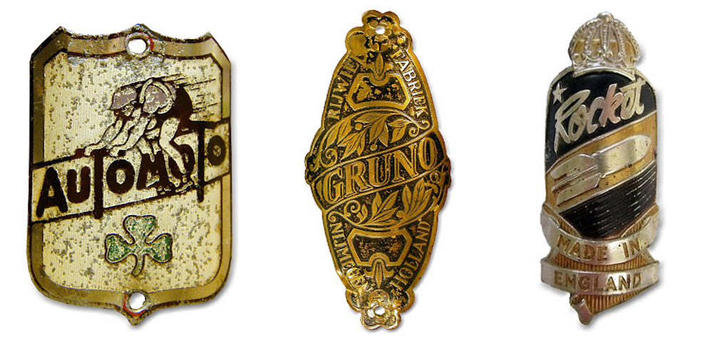 Vintage bicycle head badges from Jennifer Kennard at Letterology.