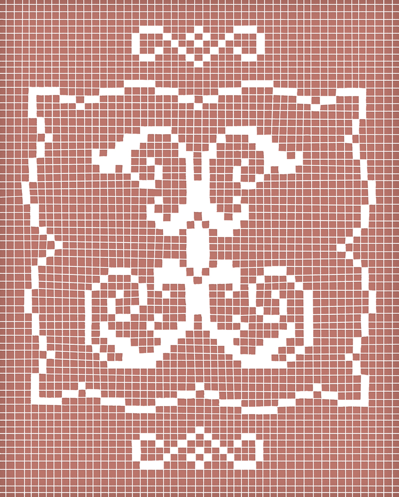 Louise Fili: When asked to create a bitmapped letter, I began to brainstorm on what forms bitmapping could take. Of course, there are pixels and grids, but how could I transform a harsh, gridded letterform into something beautiful? I began looking into the process of filet lacemaking, and I loved how simple, small squares of thread can translate into lush patterns, forms, and in this case, letters.