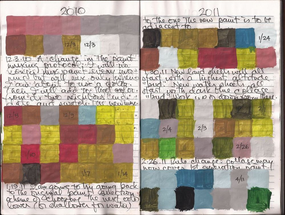 Jerry began mixing new paint colors around 2003, and documented them in this ongoing journal.