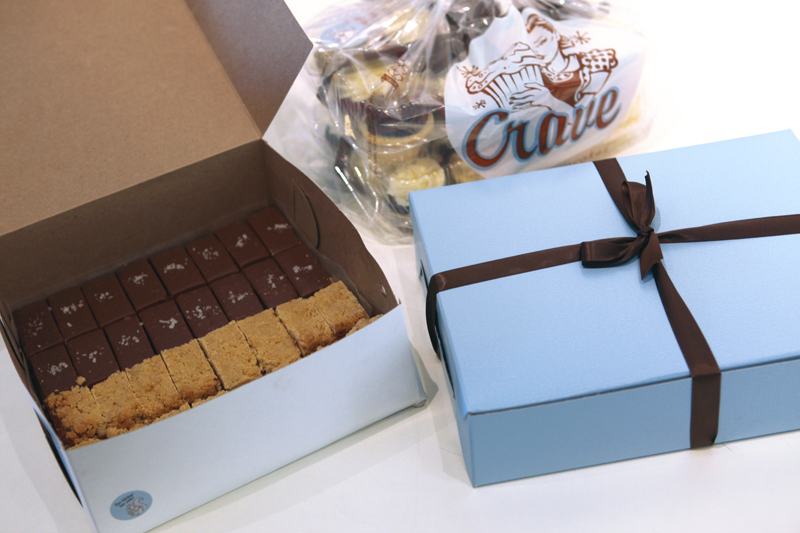 We're getting ready for First Thursday, today from 5-8pm. So hurry on over to get Crave cupcakes and try their new sweets. Hurry! Before we eat them all! Twix bar with chocolate and sea salt? Yes, please!