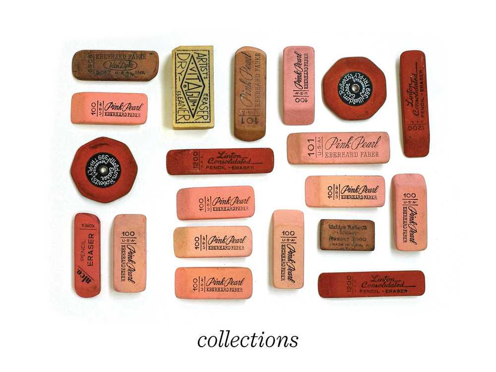 17) The act of collecting is a common element to a lot of my books. This image is by Lisa Congdon, an illustrator in San Francisco who, in 2010, began posting online a photo or illustration of one of her eclectic collections for every day of the year. Things like erasers, postcards, bread tags, haberdashery, old photos...
