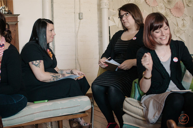 The object of affection: Shauna Alterio (left) with some of the attendees.