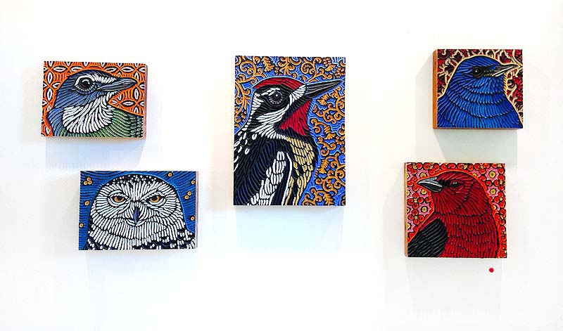 In contrast to the POP, there are also many gorgeous woodcuts from her bird series to choose from.