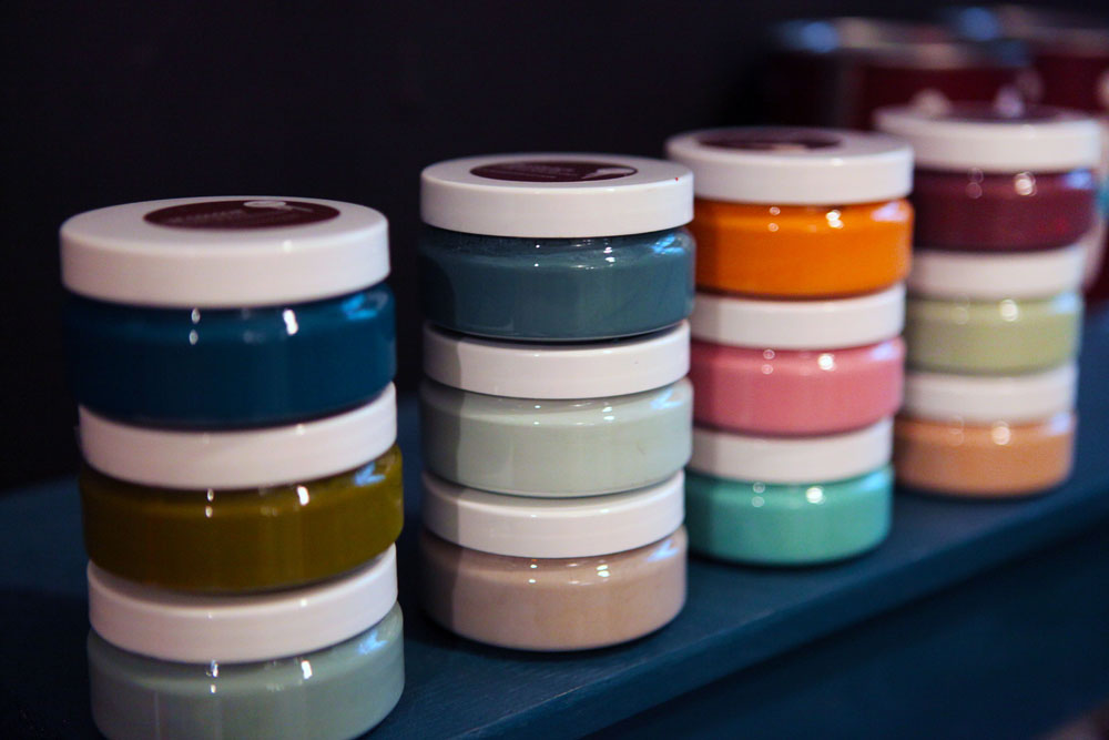 You can sample your colours in these very appealing small canisters.
