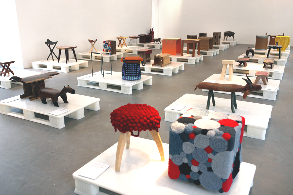 An exhibition of Brazilian stools.