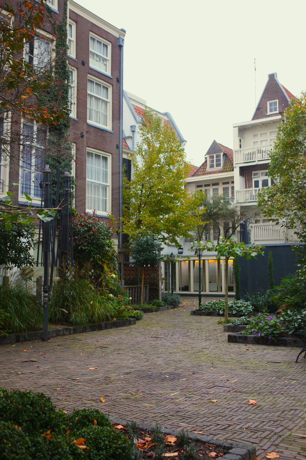 A view into the hotel's courtyard.