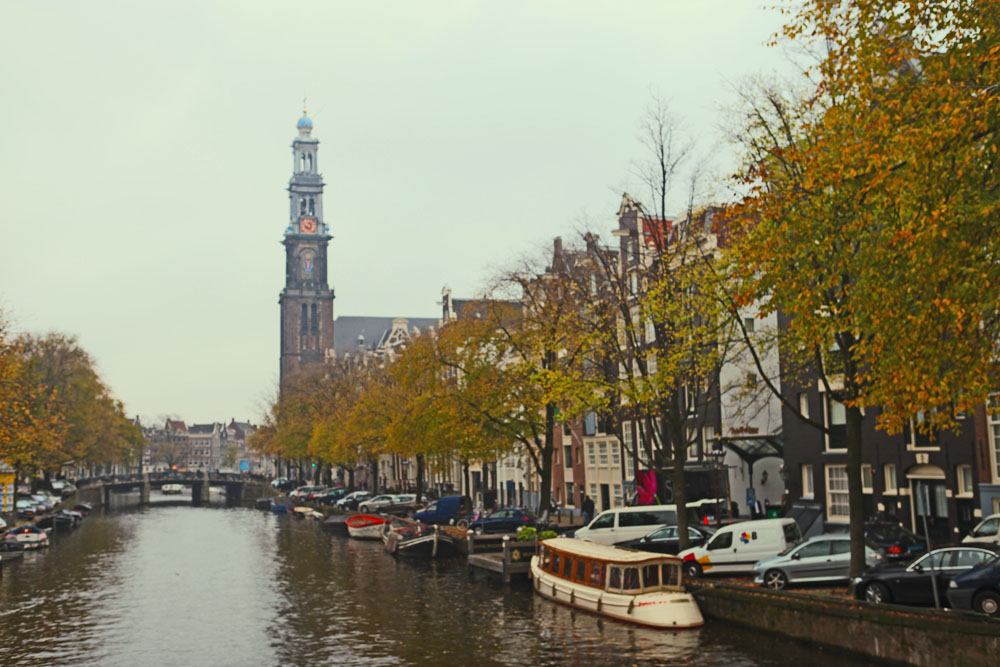 The Prinsengracht canal with Hotel Pulitzer on the right.